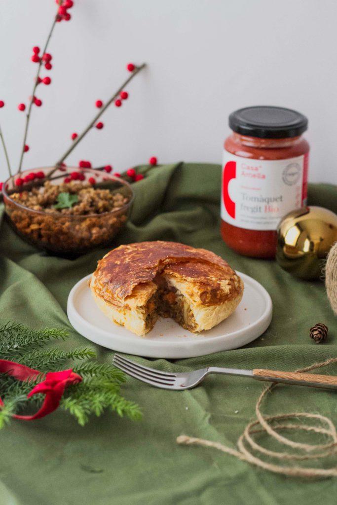 Tartaletas de Navidad rellenas de seitán y verduras